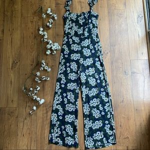 Vintage 90s Daisy Print Jumpsuit Sleeveless
